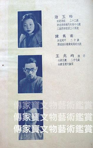 圖21. 北平藝專1937畢業紀念冊,陳雋甫為國畫組畢業生