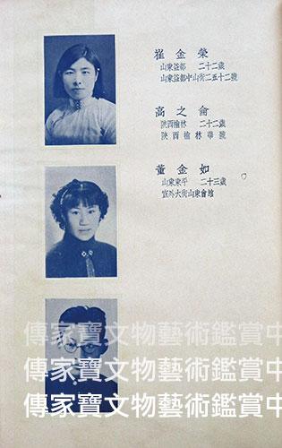 圖23.北平藝專1937畢業紀念冊中,圖案科畢業生董金如