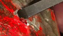 假雞血石-表面上色上膠-(7)